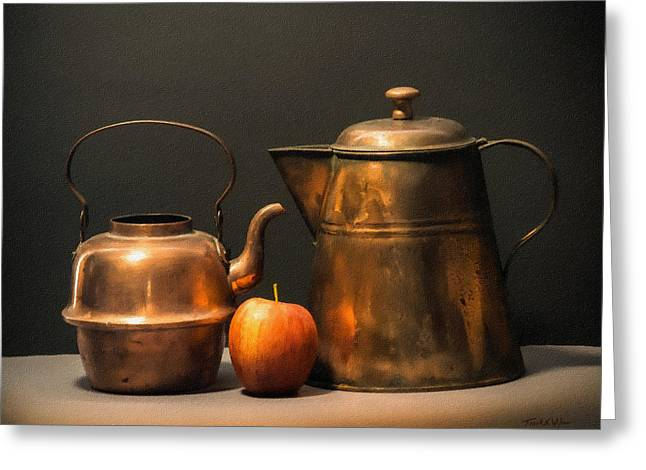 Greeting Card featuring the photograph Two Copper Pots And An Apple by Frank Wilson