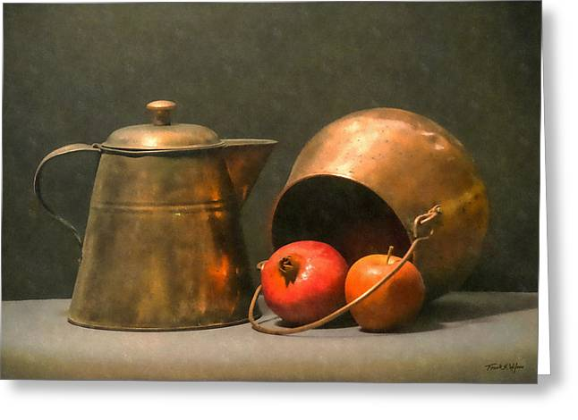 Greeting Card featuring the photograph Two Copper Pots Pomegranate And An Apple by Frank Wilson