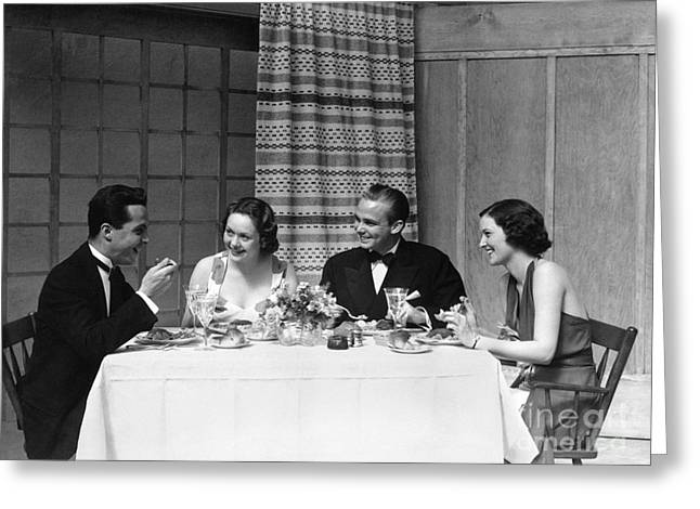 Two Couples Dining In Formal Attire Greeting Card