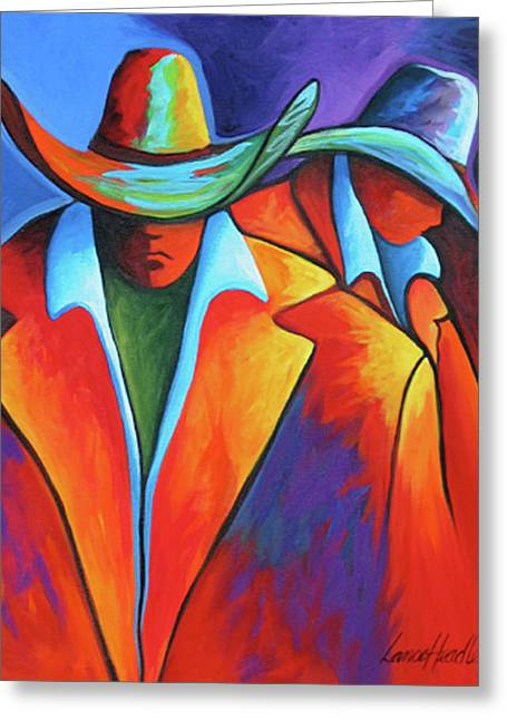 Winter Photos Paintings Greeting Cards - Two Cowboys Greeting Card by Lance Headlee