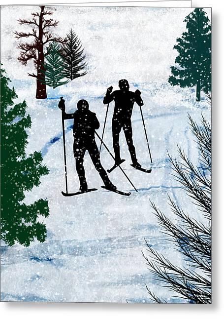 Two Cross Country Skiers In Snow Squall Greeting Card by Elaine Plesser