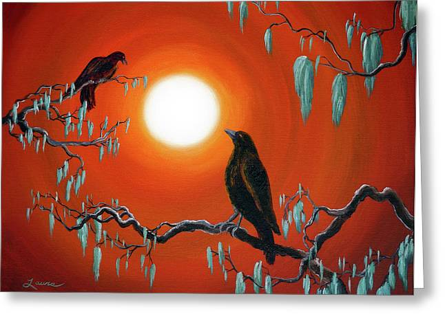 Fantasy Tree Art Greeting Cards - Two Crows on Mossy Branches Greeting Card by Laura Iverson