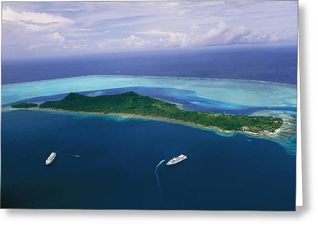 Tourists And Tourism Greeting Cards - Two Cruise Ships Mored In Bora Bora Greeting Card by Todd Gipstein