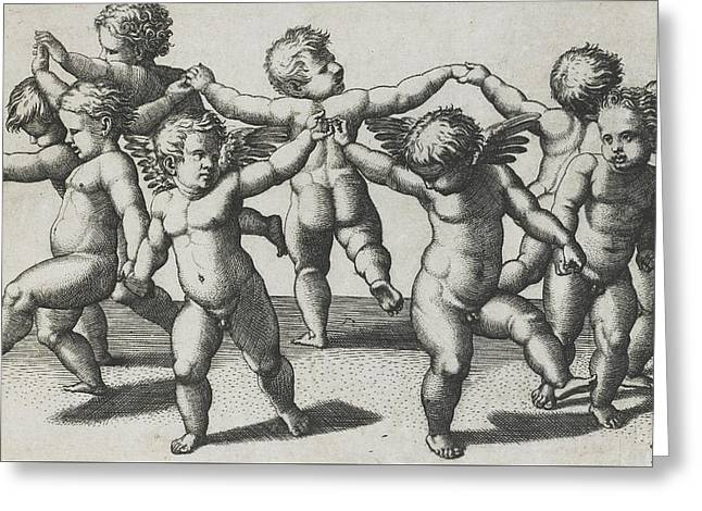 Two Cupids Leading Children In A Dance Greeting Card by Marcantonio Raimondi