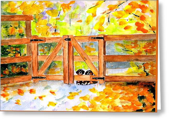 Greeting Card featuring the painting Two Cute Dogs Waiting by Carlin Blahnik CarlinArtWatercolor