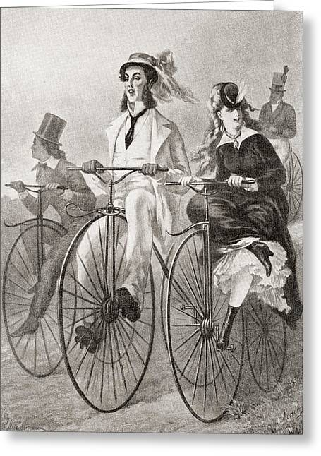 Two Cyclists On Penny Farthing Bicycles Greeting Card by Vintage Design Pics