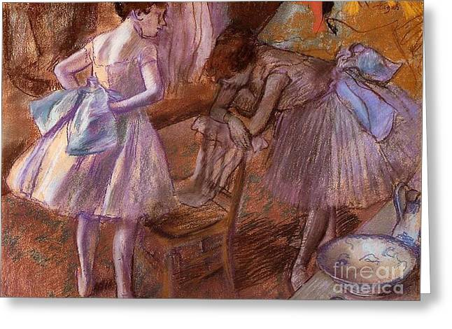 Two Dancers In Their Dressing Room Greeting Card by Degas
