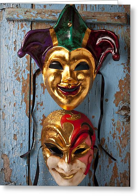 Masked Greeting Cards - Two decortive masks Greeting Card by Garry Gay