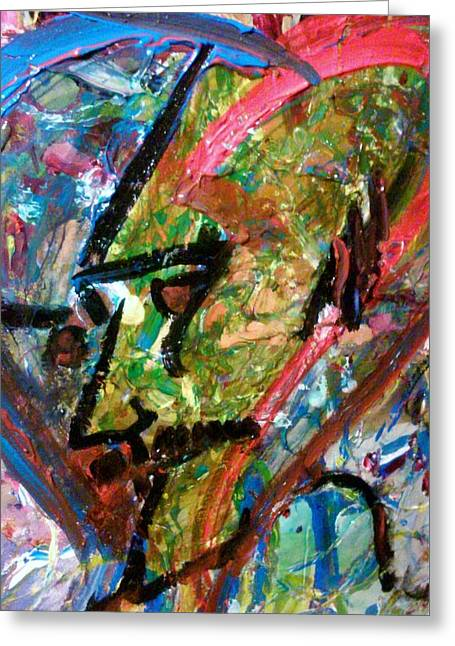 Greeting Card featuring the painting Two Dimenssional Head by Ray Khalife