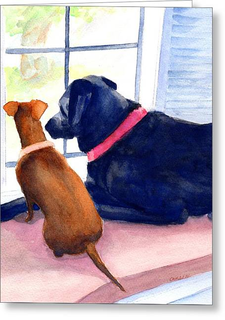 Greeting Card featuring the painting Two Dogs Looking Out A Window by Carlin Blahnik CarlinArtWatercolor