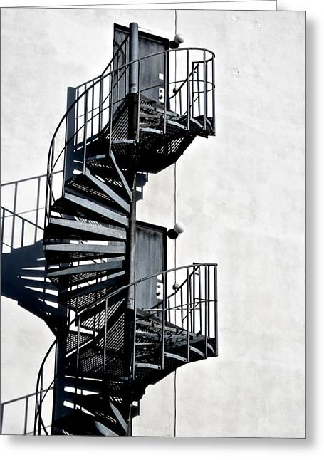 Spiral Staircase Greeting Cards - Two Doors Greeting Card by Odd Jeppesen