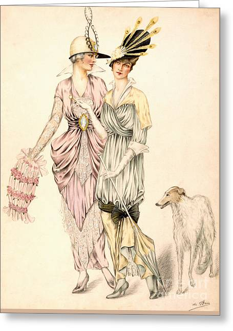 Two Dresses For The Goodwood Races Greeting Card by English School