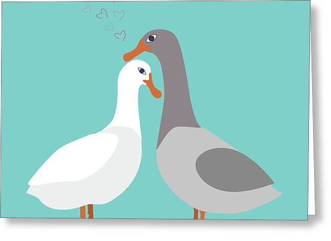 Two Ducks In Love Greeting Card