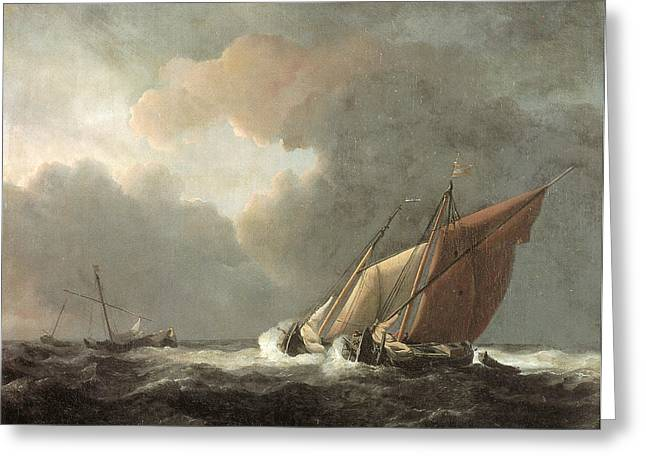 Two Dutch Vessels Close-hauled In A Strong Breeze Greeting Card by Willem van de Velde the Younger