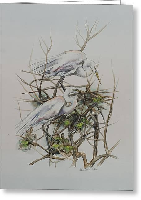 Two Egrets In A Tree Greeting Card