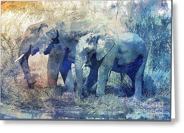 Two Elephants Greeting Card by Jutta Maria Pusl