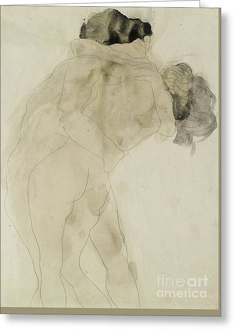 Two Embracing Figures Greeting Card by Auguste Rodin