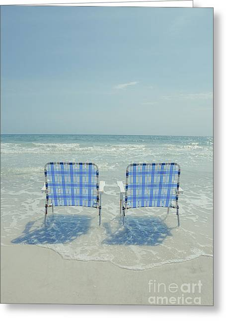 Two Empty Beach Chairs Greeting Card by Edward Fielding