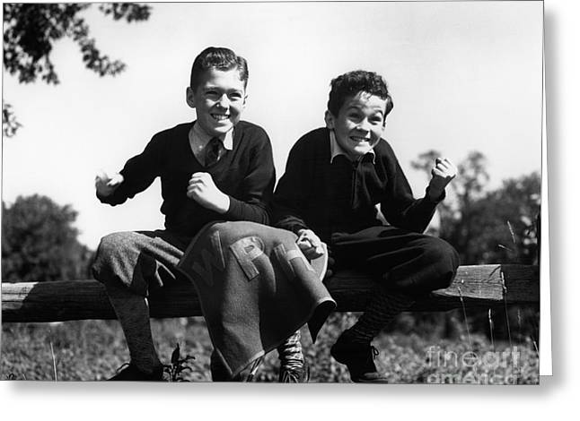 Two Excited Boys On Fence, C.1930-40s Greeting Card by H. Armstrong Roberts/ClassicStock