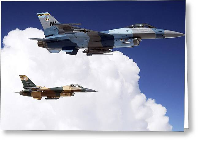 Two F-16 Fighting Falcons In Flight Greeting Card by Stocktrek Images