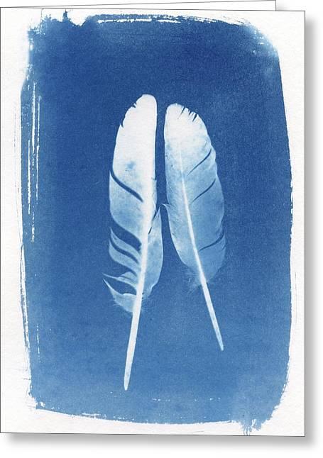 Two Feathers Cyanotype Sun Print Alternative Process Photography Greeting Card