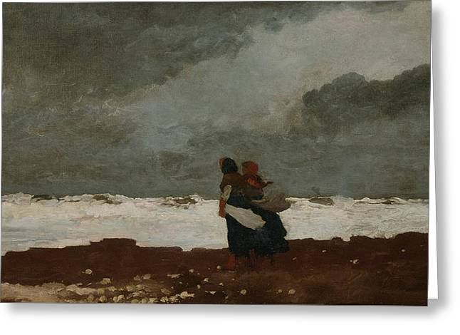 Two Figures By The Sea Greeting Card by Winslow Homer
