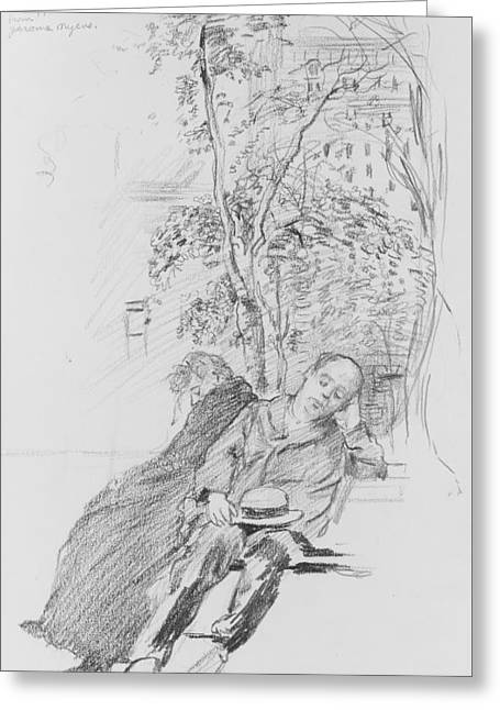 Two Figures In A Park Greeting Card