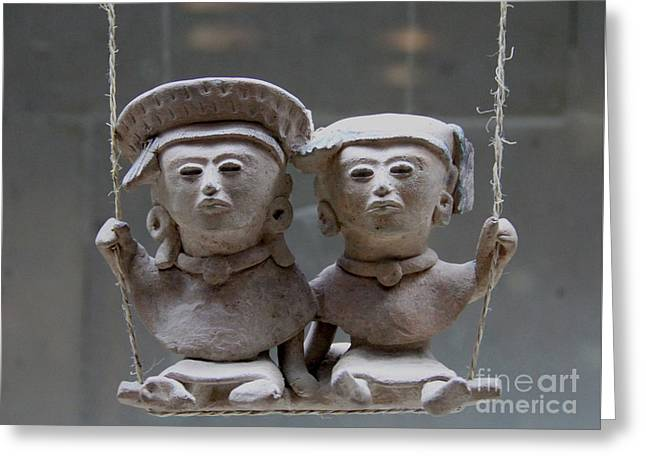 Two Figures On A Swing Veracruz Mexico Greeting Card