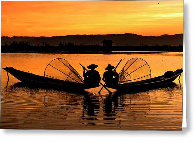 Two Fisherman At Sunset Greeting Card