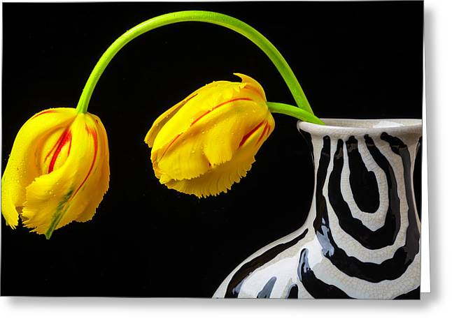 Two French Tulips In Striped Vase Greeting Card
