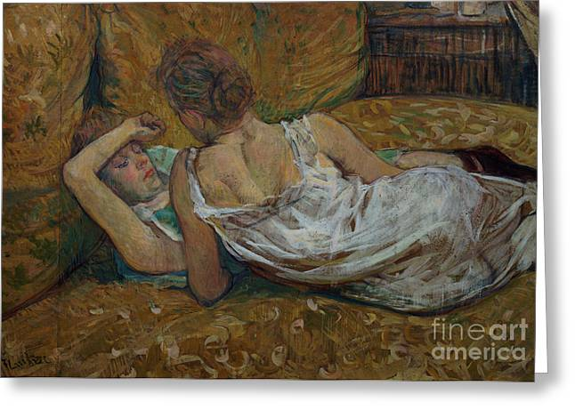 Nightdress Greeting Cards - Two friends Greeting Card by Henri de Toulouse-Lautrec