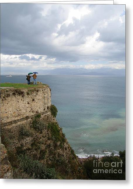 Two Friends Peer Over A Cliff And See The Horizon Greeting Card by Clay Cofer