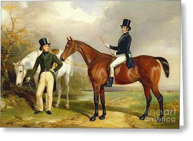 Two Gentlemen Out Hunting  Greeting Card by Henry Barraud