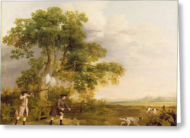 Two Gentlemen Shooting  Greeting Card by George Stubbs