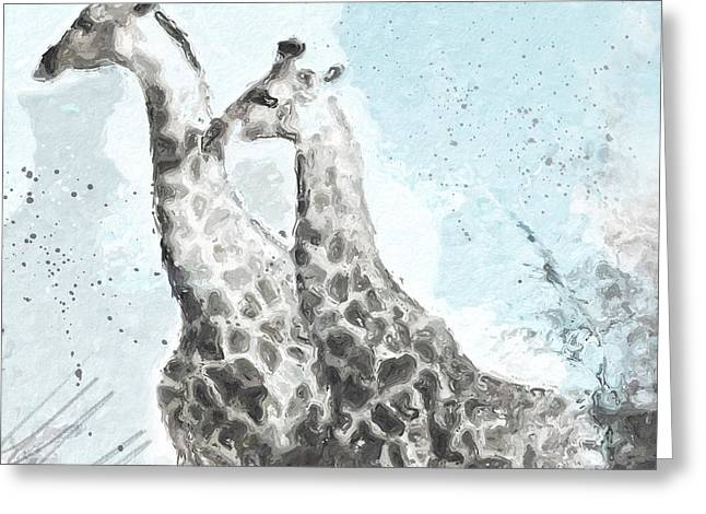Two Giraffes- Art By Linda Woods Greeting Card
