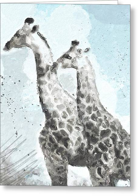 Two Giraffes- Art By Linda Woods Greeting Card by Linda Woods