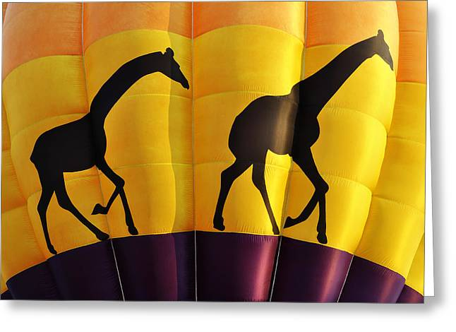 Two Giraffes Riding On A Hot Air Balloon Greeting Card