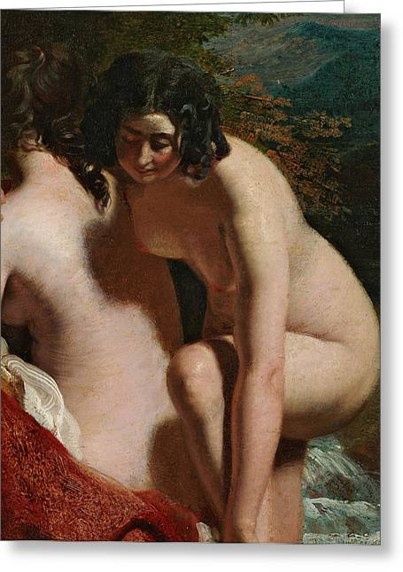Caress Greeting Cards - Two Girls Bathing Greeting Card by William Etty