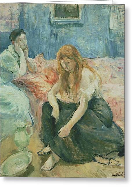 Two Girls Greeting Card by Berthe Morisot