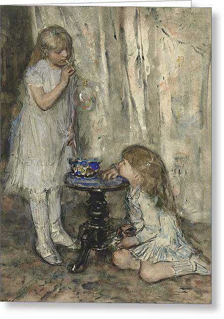Two Girls, Daughters Of The Artist, Blowing Bubbles Greeting Card