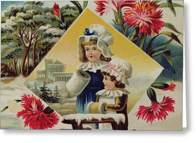 Two Girls On A Bridge In The Snow, Victorian Christmas And New Year Card Greeting Card