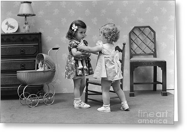 Two Girls Playing With Dolls, C.1940s Greeting Card