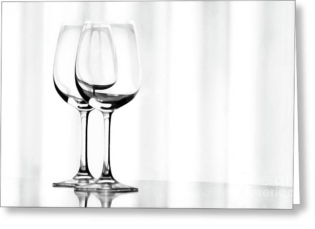 Two Glasses Greeting Card by Dan Holm
