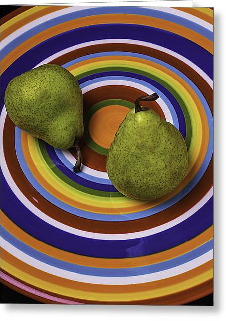 Two Green Pears On Circle Plate Greeting Card