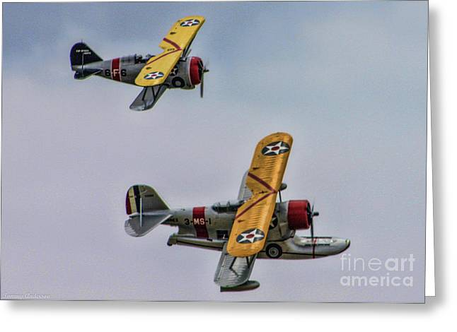 Two Grummans Greeting Card by Tommy Anderson