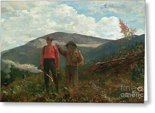 Two Guides Greeting Card by Winslow Homer