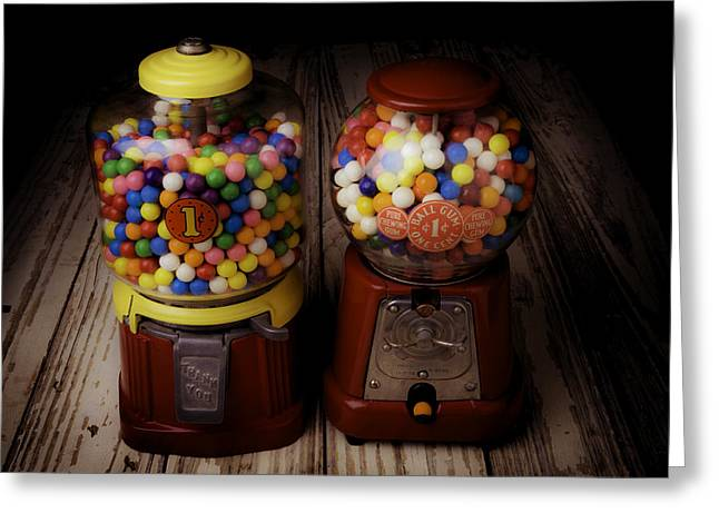 Two Gumball Machines Greeting Card by Garry Gay