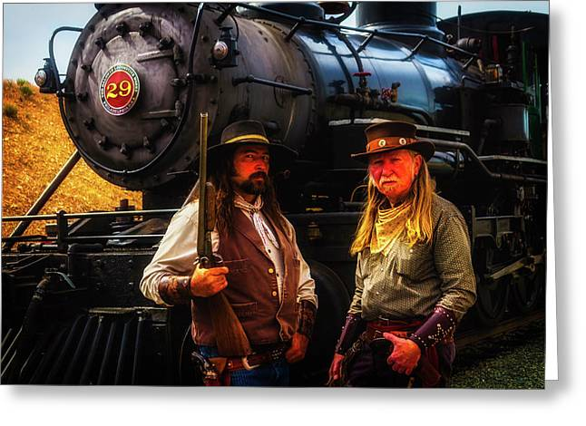 Two Gunfighters In Front Of Train Greeting Card