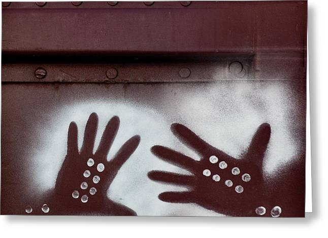 Two Hands On A Train Graffiti Greeting Card