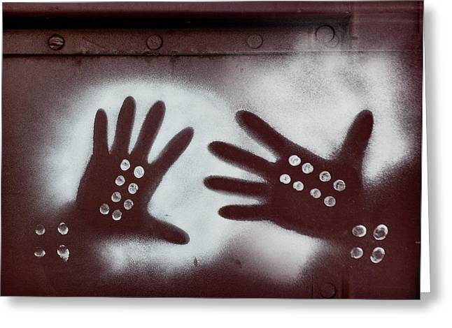 Two Hands On A Train Graffiti Greeting Card by Carol Leigh